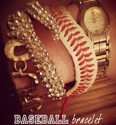 Upcycled bracelet from baseball by Kitty Cotten