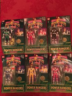 (6) 1994 MIGHTY MORPHIN POWER RANGERS Auto Morphin Figure Lot, MIB ~COMPLETE SET #Bandai