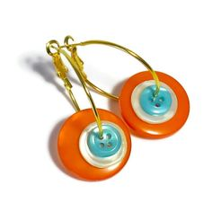 Button Earrings, Handmade Jewelry, Turquoise and Orange