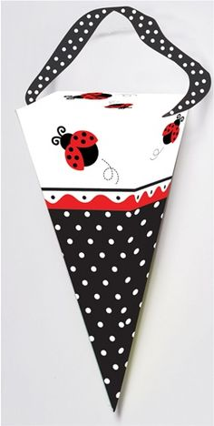 """Cone-shaped Ladybug Fancy Treat Boxes measure 4.5"""" tall by 2.5""""wide at the top.  Includes black satin ribbon handles with white polka dots.  Cute ladybug and polka dot accents adorn each favor box.  Sold in quantities of 6 per package."""