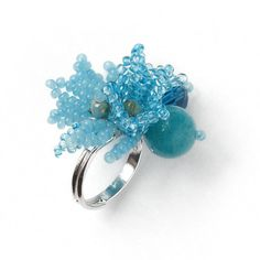 Bells flowers with gemstone jade bead ring Flower cluster ring Thrush eggs beaded ring Adjustable ring Bells cluster ring Bell ring for girl