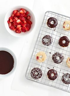 Host a Donut Day party at your house or bring the party to the office and celebrate with co-workers with this Mini Chocolate-Covered Strawberry Donuts recipe from @sharisberries.