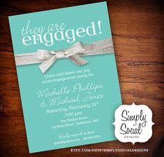 Tiffany Blue and Glitter Ribbon Engagement Party Invitation