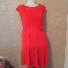 Red Eyelet Lace Dress S M Red Eyelet Lace Dress S M by Spence cap Sleeve Drawstring Waist Cotton Blend Length 34 inches shoulder to hem  EUC 🚫Trades Spense Dresses