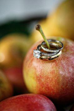 Wedding rings on an apple