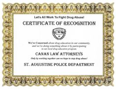 St. Augustine PD recognized Canan Law's work on drug education in the community.