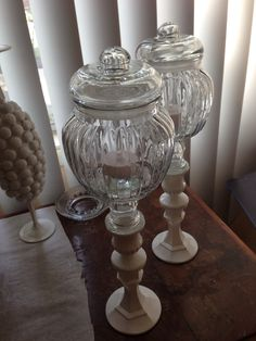 These LED only candle sticks. The short clear taper candle sticks The larger clear candle stick base painted with acrylic craft paint for glass/ all purpose craft paint. Once all painted and dried, I glued the pieces together with a strong glue