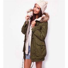 0e5d0fe2f1b Army Green Hooded Cotton Coat   Women s Retro Outerwear