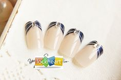 Milky Beige with Navy Tips & Silver Rhinestones