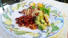 3-Part Dinner RECIPE: Chicken with Honey-Lime Marinade, Avocado-Almond Salsa, Pinto Beans, and Slivered Tomato Carrot Salad