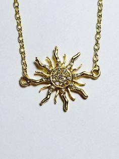Rapunzel Tangled inspired necklace Crystal Pave Sunburst in silver or gold Disney Wedding Disney Prom