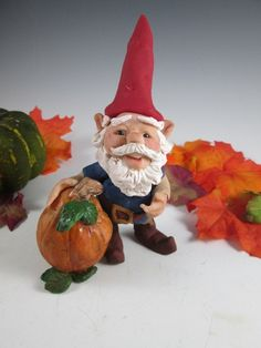 Gnome and the Prize Pumpkin /Hand Sculpted by DebbiesClayArt