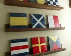 Nautical Code Custom Flag Blocks CHOOSE YOUR LETTERS Nautical