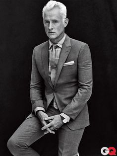 GQ Magazine Cover (April 2012) John Slattery (Roger Sterling of Mad Men).  Photographed by Sebastian Kim  Suit, $1,295 by Emporio Armani. Shirt, $395 by Ermenegildo Zegna. Tie, $75 by Gitman Vintage. Tie bar by The Tie Bar. Pocket square by Paul Stuart. Watch by Jaeger-LeCoultre. $1765 (limited edition watch not included).