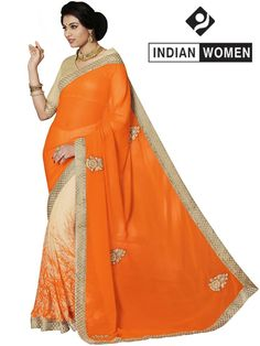 #Divine Orange!!  #Orange Georgette & Chiffon Print Half And Half Sari  INR 1196.00 Only