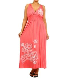 94ba725776e Loving this Coral Floral Surplice Maxi Dress - Plus on  zulily!   zulilyfinds Curvey