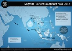 Map showing migrant routes through Southeast Asia. Missing Migrants Project tracks arrivals and fatalities of migrants along migratory routes across the globe. #MissingMigrants