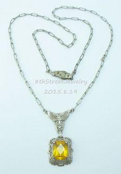 Estate Art Deco 1920's Sterling Silver 925 Lavalier Necklace Golden Paste Stone #Unbranded #ArtDeco