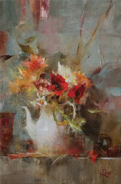 Laura Robb, Bouquet With Poppies, oil, 12 x 8.