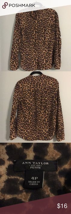 Ann Taylor cheetah blouse. Sz 4P Ann Taylor cheetah blouse. Sz 4P. Very gently worn, no signs of wear. Camp sleeve option to roll up sleeves if desired. Bronze button detail at shoulders. Ann Taylor Tops Blouses