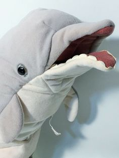 Folkmanis Puppets Dolphin Plush Hand Puppet for sale online Hand Puppets For Sale, Realistic Stuffed Animals, Bottlenose Dolphin, Pet Toys, Awesome Stuff, Dolphins, Dinosaur Stuffed Animal, Plush, Grey