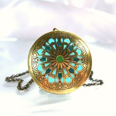 Locket necklace antique brass pendant teal gold unique jewelry handmade mandala on Etsy, $62.00