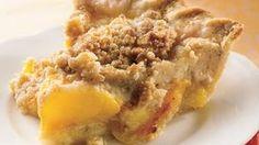 Peach Crumble Pie Peach Crumble Pie, Crumble Topping, Crumble Recipe, Crisp Recipe, Pie Recipes, Dessert Recipes, Cooking Recipes, Yummy Recipes, Sweets