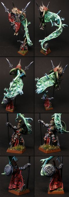 Miniature painted for Vampire Counts, Warhammer Fantasy Battle, or Age of Sigmar if need be. Vampire Battle Standard Bearer, converted to bear a ghostly, cursed banner with the family Coat of Arms. Freehands abound ;) He would be a Soulblight Vampire in AoS, Death Grand Alliance.