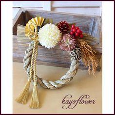 お正月飾り「和」 Japanese New Year, Japanese Style, New Years Decorations, Handmade Ornaments, Grapevine Wreath, Handicraft, Wedding Bouquets, Flower Arrangements, Wreaths