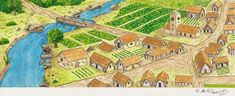 Medieval Village Final by ~Betomelo on deviantART Village drawing Medieval town Medieval