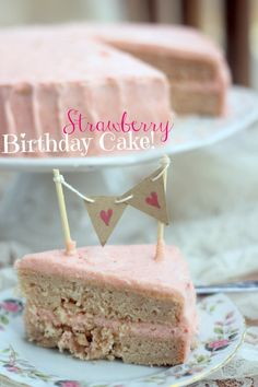 Strawberry Birthday Cake with Strawberry Vanilla Bean Frosting (egg free, dairy free)
