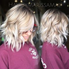 Messy, Wavy Lob Hair Styles with Platinum Blonde Hair