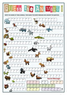 GUESS THE ANIMAL - GUESS THE SECRET MESSAGE