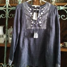 """BOHO TUNIC BLOUSE BY MAX STUDIO Details: This navy beauty has white and lighter blue embroidery and can be tied in the chest area with beautiful embroidery tassels at the end 100% Cotton (Color as shown in 2nd photo) Size S Measurements:  27"""" from shoulder to bottom of hem,  19"""" from pit to pit Retails:  $118, NWT Max Studio Tops Tunics"""