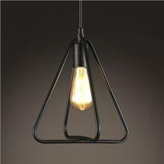 (EU Lager)Vintage Pendelleuchte Dreieck Design Schwarz 1-Flammig