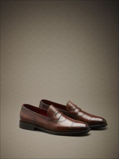 Hand-dyed calfskin loafers with fine perforations, Soft Goodyear construction. #fw14 #man #accessories