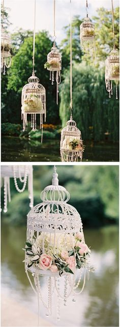 White bird cages, flowers & pearls for an outdoor wedding or bridal shower!~could use only flowers for other events~ Trendy Wedding, Diy Wedding, Wedding Flowers, Dream Wedding, Wedding Day, Garden Wedding, Party Wedding, Wedding Table, Wedding Ushers