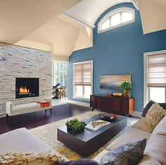Living Room Good Accent Walls In Blue Color And Faux Stacked Fireplace