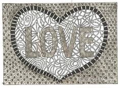 Love print in Black and Grey ACEO by Theodora by THEODORADESIGNS, $5.00