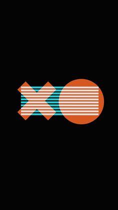 X O LOGO MINIMAL DARK ILLUSTRATION ART WALLPAPER HD IPHONE