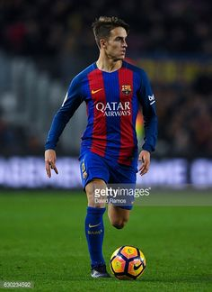 Denis Suarez of FC Barcelona runs with the ball during the La Liga match between FC Barcelona and RCD Espanyol at the Camp Nou stadium on December 18...