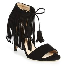Women's Kenneth Cole New York 'Mylah' Sandal ($120) via Polyvore featuring shoes, sandals, black suede, suede sandals, tassel sandals, bohemian sandals, boho shoes and black fringe sandals