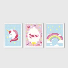 Quadros Infantis Trio Unicórnio Unicorn Kids, Unicorn Party, Baby Decor, Nursery Decor, Bedroom Artwork, Barbie, Iris, Baby Art, Easy Paintings