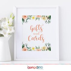 Welcome to Print Joy Studio!  With an elegant floral design, this printable Gifts and Cards sign will make a lovely addition to your baby shower! A free BONUS Gift List is included with this purchase! ↓↓ See sections below for important details! ↓↓  INSTANT DOWNLOAD ★ Please note this is an INSTANT Fun Baby Shower Games, Baby Shower Table, Baby Shower Signs, Baby Shower Favors, Baby Shower Decorations, Easy Pets, Table Signs, 1st Birthdays, Baby Shower Printables