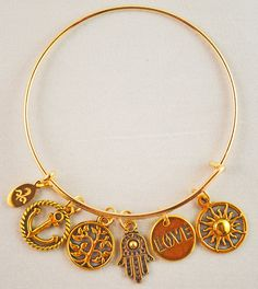 Gold-tone Antiqued-Charms Bangle
