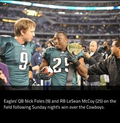 Nick Foles and LeSean McCoy walk towards the cameras to get interviewed after great games