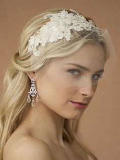 "This luxurious Bridal Headband has a European Lace Applique (8"" across x 3"" w) embellished with crystals, pearls, bugle beads & sequins. Our wedding Headband has an alluring 5"" petite tulle face veil just sweeping the eyes. The satin band is 1/8"" w."