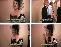 """Helena Bonham Carter: """"What are you doing here?"""" Helena Bonham Carter: """"Thank you, Draco! Harry Potter Puns, Harry Potter Cast, Harry Potter Universal, Harry Potter World, Draco Malfoy, Hermione Granger, Severus Snape, Johny Depp, Movies And Series"""