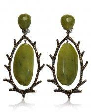 Siman Tu Olive Jade Long Clip Earrings