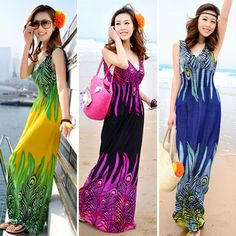 New 2014 summer new deep v-neck peacock bohemia long beach dress sexy casual maxi dress free shipping